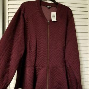 Torrid peplum zip fleece jacket merlot colored 4X